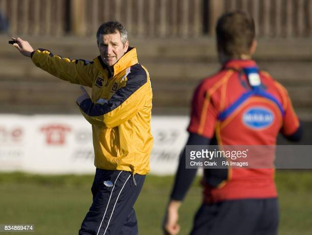 Coach Frank Hadden talks with the players during a training session at Watsonians' Myreside Stand Pitch Edinburgh