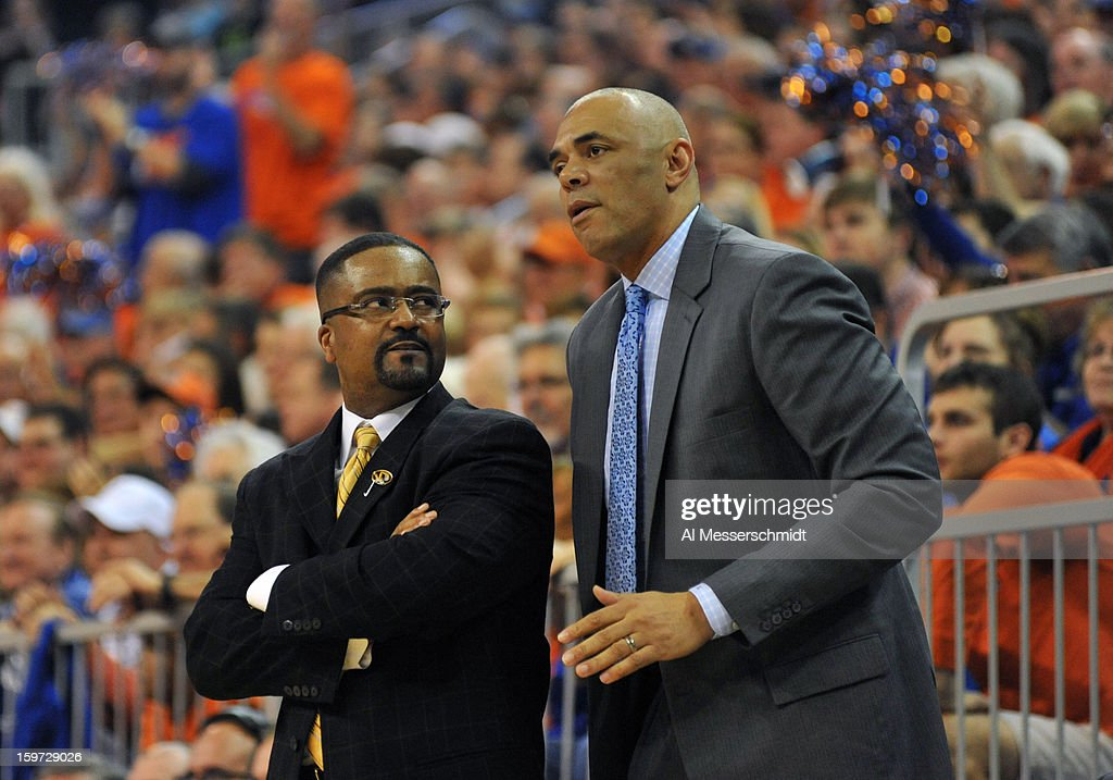 Coach Frank Haith of the Missouri Tigers (left) directs play against the Florida Gators January 19, 2013 at Stephen C. O'Connell Center in Gainesville, Florida. The Gators won 83 - 52.