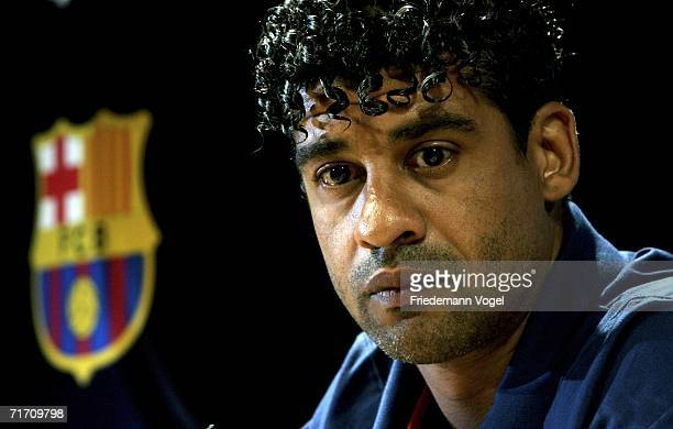 Coach Frank Rijkaard attends the press conference of FC Barcelona for the UEFA Super Cup at the Grimaldi Forum on August 24 2006 in Monte Carlo...