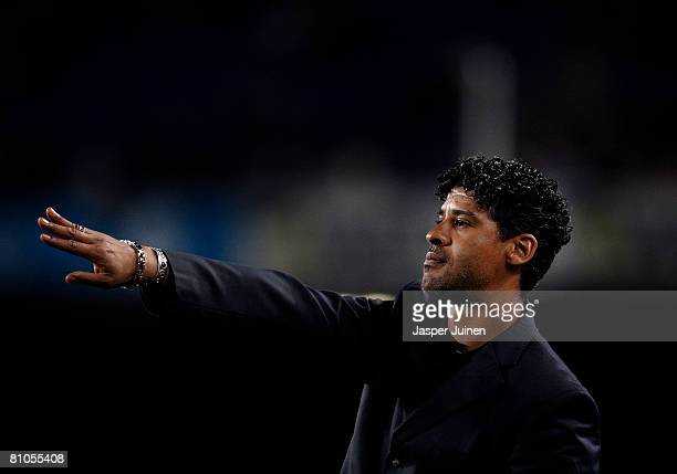 Coach Frank Rijkaard of Barcelona instructs his players during his last La Liga home match between Barcelona and Mallorca at the Camp Nou Stadium on...