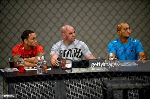 Coach Frankie Edgar UFC President Dana White and coach BJ Penn watch Eddie Gordon face Matt Gabel in their elimination fight during filming of season...