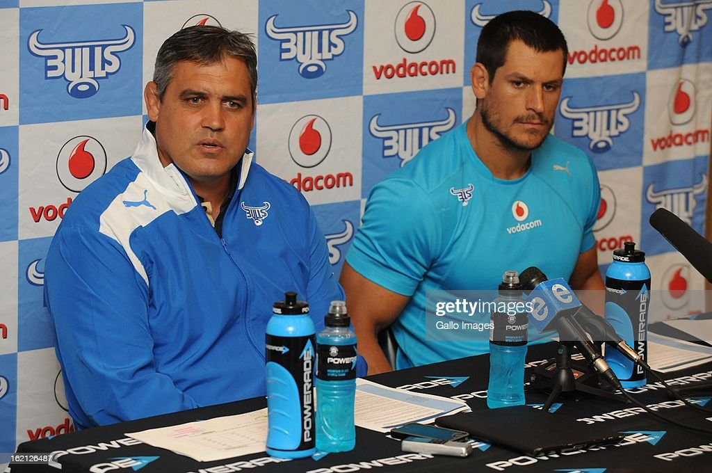 Coach, Frans Ludeke and Pierre Spies during a Vodacom Bulls press conference at Loftus Versveld on February 19, 2013 in Pretoria, South Africa.