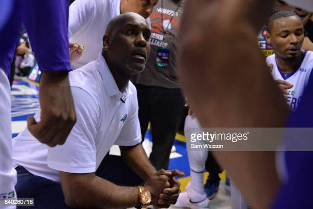 Coach Gary Payton of 3 Headed Monsters speaks to his team during the BIG3 three on three basketball league championship game against the Trilogy on...