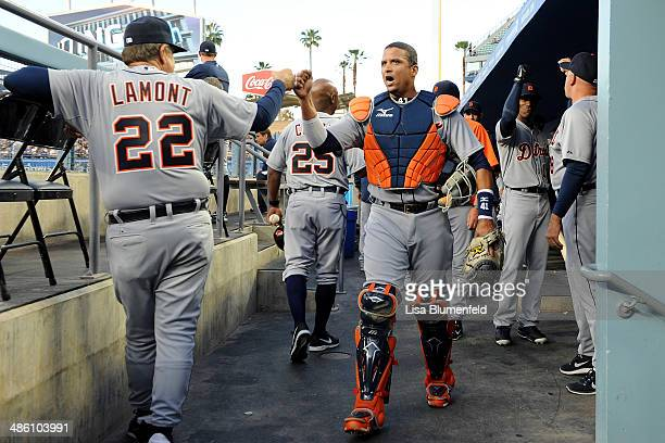 Coach Gene Lamont and catcher Victor Martinez of the Detroit Tigers get ready for the game against the Los Angeles Dodgers at Dodger Stadium on April...