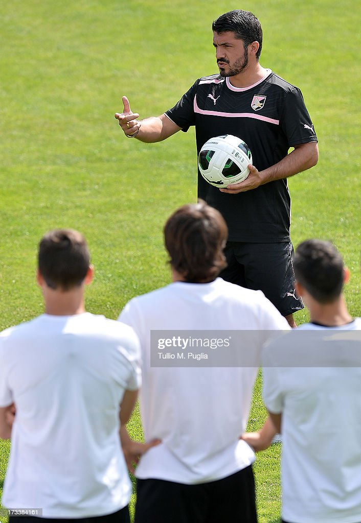 Coach <a gi-track='captionPersonalityLinkClicked' href=/galleries/search?phrase=Gennaro+Gattuso&family=editorial&specificpeople=210827 ng-click='$event.stopPropagation()'>Gennaro Gattuso</a> of Palermo issues instructions during a US Citta di Palermo pre-season training session at Sportzentrum on July 13, 2013 in Sankt Lambrecht near St Veit an der Glan, Austria.