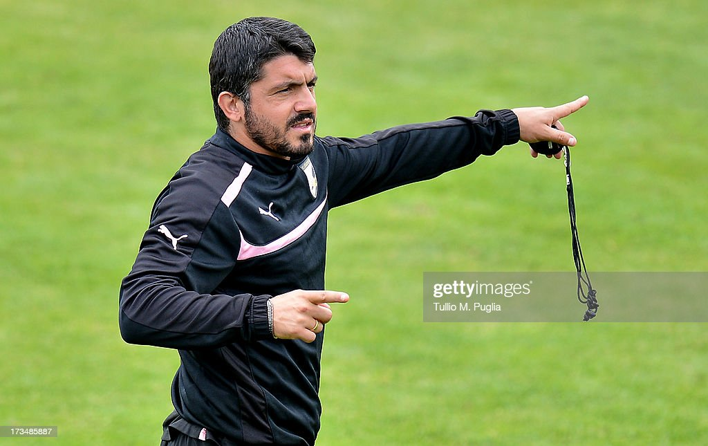 Coach <a gi-track='captionPersonalityLinkClicked' href=/galleries/search?phrase=Gennaro+Gattuso&family=editorial&specificpeople=210827 ng-click='$event.stopPropagation()'>Gennaro Gattuso</a> of Palermo issues instructions during a US Citta di Palermo pre-season training session at Sportzentrum on July 15, 2013 in Sankt Lambrecht near St Veit an der Glan, Austria.