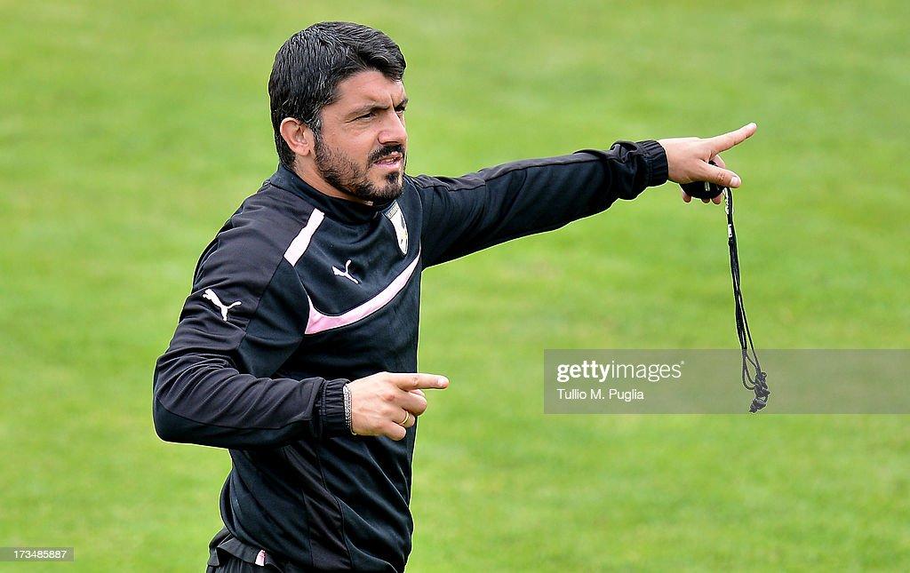 Coach Gennaro Gattuso of Palermo issues instructions during a US Citta di Palermo pre-season training session at Sportzentrum on July 15, 2013 in Sankt Lambrecht near St Veit an der Glan, Austria.