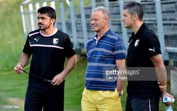 Coach Gennaro Gattuso President Maurizio Zamparini and Igor Budan look on during a US Citta di Palermo preseason training session at Sportzentrum on...