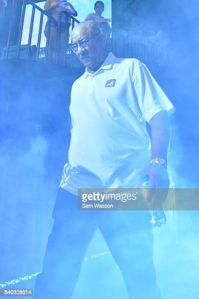 Coach George Gervin of the Ghost Ballers during the BIG3 three on three basketball league runnerup game on August 26 2017 in Las Vegas Nevada