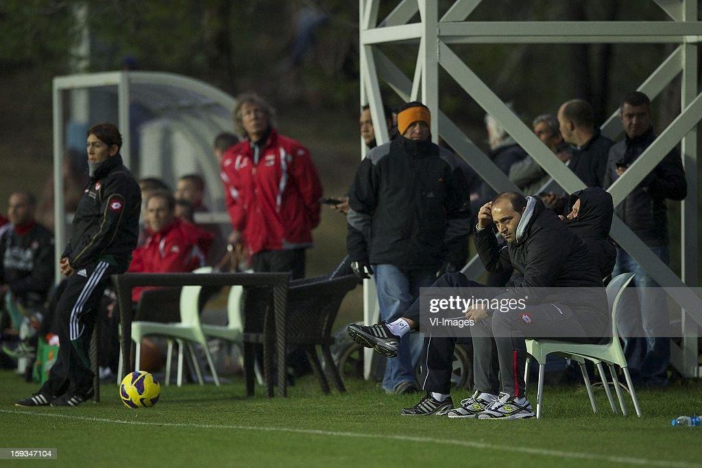 coach Gert Jan Verbeek of AZ, coach Fuat Cupa of Erik Heijblok during the friendly match between AZ Alkmaar and Genclerbirligi on January 12, 2013 at Belek, Turkey