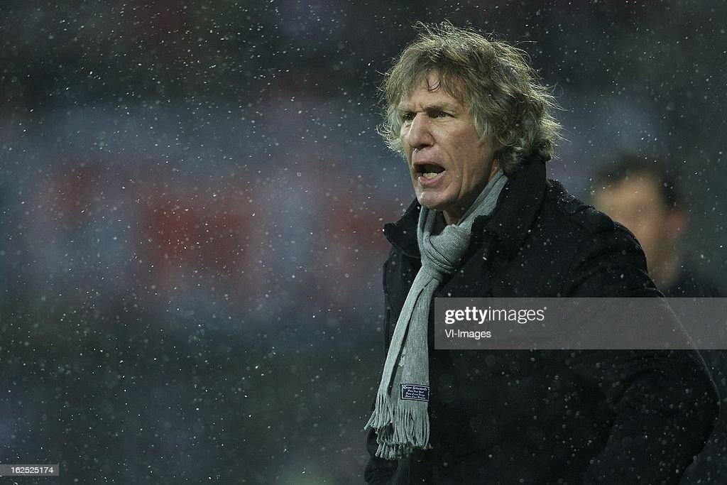 coach Gert Jan Verbeek of AZ during the Dutch Eredivisie Match between AZ Alkmaar and NAC Breda at the AFAS Stadium on february 24, 2013 in Alkmaar, The Netherlands