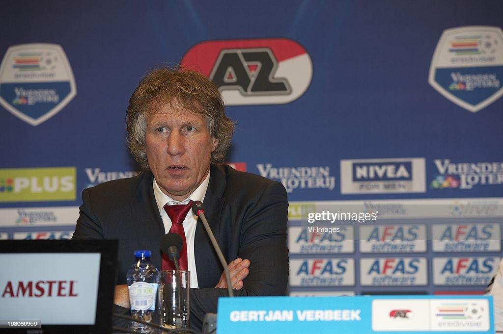 coach Gert Jan Verbeek of AZ during the Dutch Eredivisie match between AZ Alkmaar v PEC Zwolle on May 5, 2013 at the Afas stadium in Alkmaar, The Netherlands.