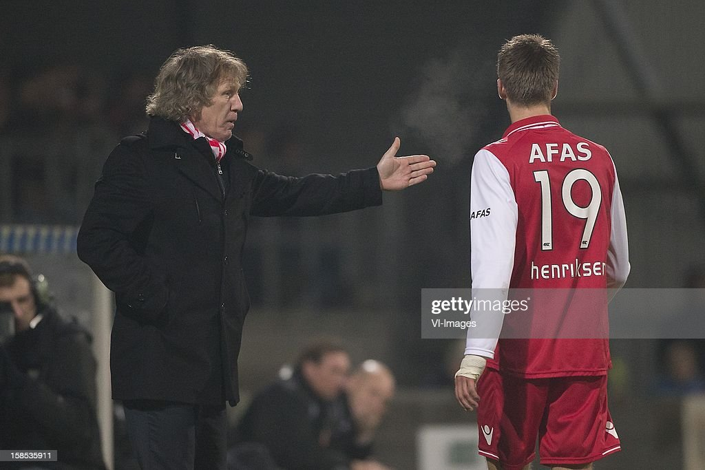 Coach Gert Jan Verbeek of AZ, Markus Hendriksen of AZ during the Dutch Cup match between FC Dordrecht and AZ Alkmaar at the GN Bouw Stadium on December 18, 2012 in Dordrecht, The Netherlands.