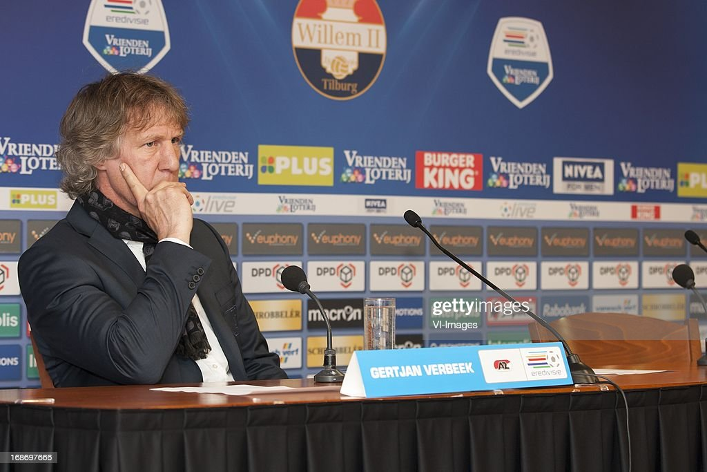 coach Gert Jan Verbeek of AZ waiting for press conference during the Dutch Eredivisie match between Willem II and AZ Alkmaar on May 12, 2013 at the Koning Willem II stadium in Tilburg, The Netherlands.