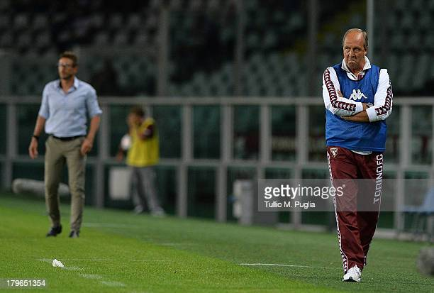 Coach Giampiero Ventura of Torino looks on during the Serie A match between Torino FC and US Sassuolo Calcio at Stadio Olimpico di Torino on August...