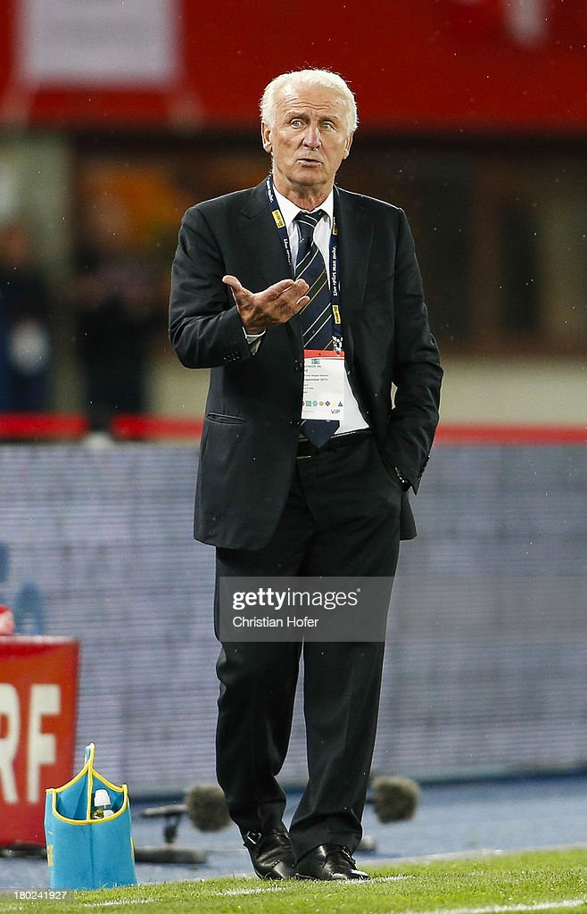Coach <a gi-track='captionPersonalityLinkClicked' href=/galleries/search?phrase=Giovanni+Trapattoni&family=editorial&specificpeople=209002 ng-click='$event.stopPropagation()'>Giovanni Trapattoni</a> of Ireland reacts during the FIFA World Cup 2014 Group C qualification match between Austria and the Republic of Ireland at the Ernst Happel Stadium on September 10, 2013 in Vienna, Austria.