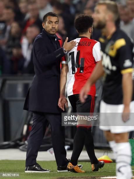coach Giovanni van Bronckhorst Bilal Basacikoglu of Feyenoord during the Dutch Eredivisie match between Feyenoord Rotterdam and NAC Breda at the Kuip...