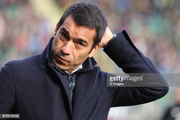 coach Giovanni van Bronckhorst during the Dutch Eredivisie match between ADO Den Haag and Feyenoord Rotterdam at Cars Jeans stadium on November 05...