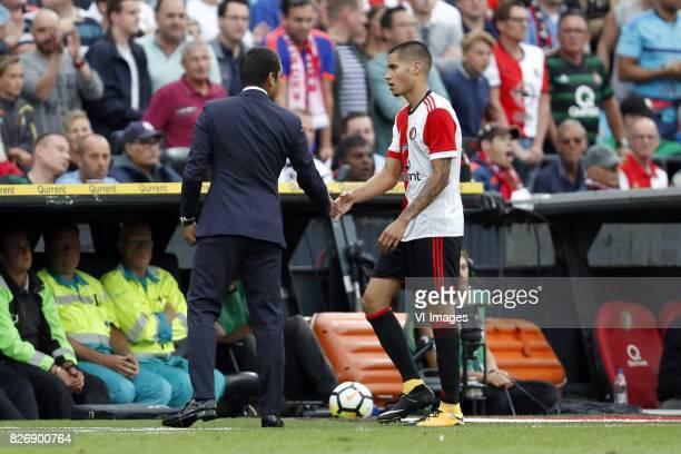 coach Giovanni van Bronckhorst Kevin Diks of Feyenoord during the Johan Cruijff Shield match between between Feyenoord Rotterdam and Vitesse Arnhem...