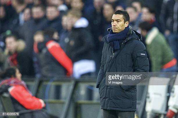 coach Giovanni van Bronckhorst of Feyenoord during the Dutch Eredivisie match between Feyenoord Rotterdam and SC Cambuur Leeuwarden at the Kuip on...