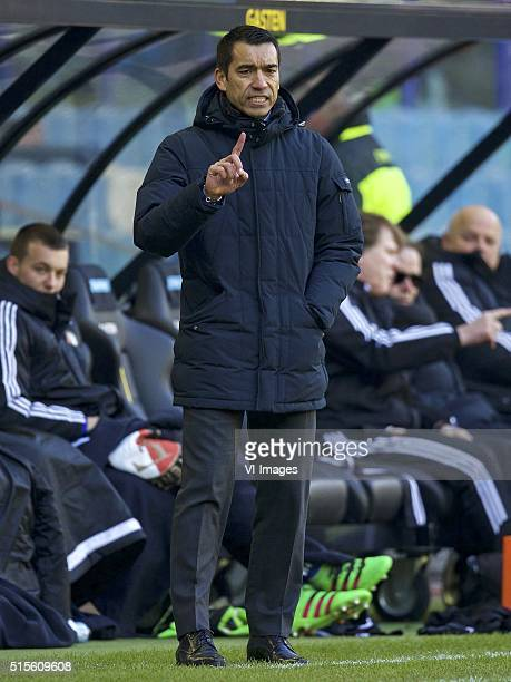 coach Giovanni van Bronckhorst of Feyenoord during the Dutch Eredivisie match between Vitesse and Feyenoord at the Gelredome stadium on march 13 2016...