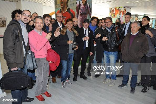 Coach Giuseppe Iachini of Palermo and Team Manager Igor Budan meet journalists for Christmas greetings after a press conference at Renzo Barbera...