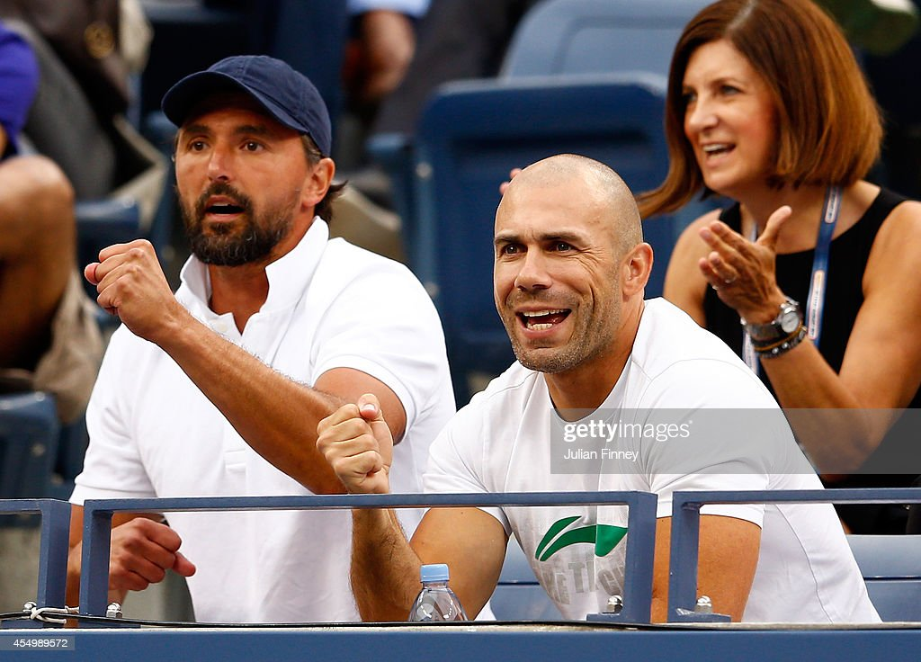 Coach Goran Ivanisevic looks on as Marin Cilic of Croatia plays against Kei Nishikori of Japan during the men's singles final match on Day fifteen of...