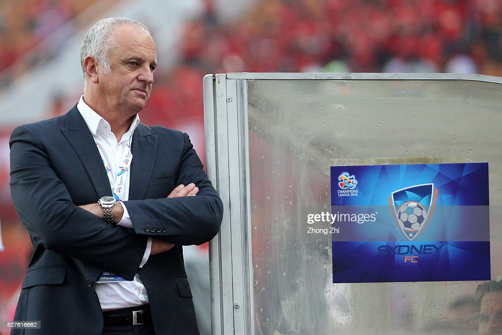 Coach Graham Arnold of Sydney FC looks on during the AFC Asian Champions League match between Guangzhou Evergrande FC and Sydney FC at Tianhe Stadium on May 3, 2016 in Guangzhou, China.
