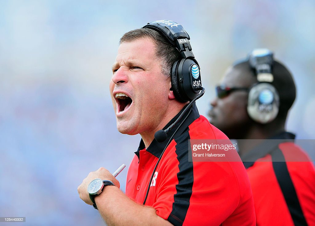Coach Greg Schiano of the Rutgers Scarlet Knights against the North Carolina Tar Heels at Kenan Stadium on September 10 2011 in Chapel Hill North...