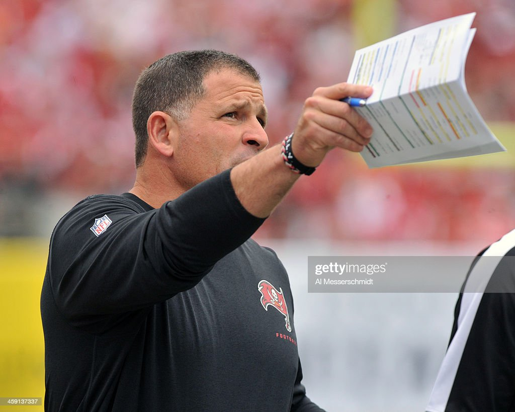 Coach Greg Schiano of the Tampa Bay Buccaneers directs play against the San Francisco 49ers December 15 2013 at Raymond James Stadium in Tampa...