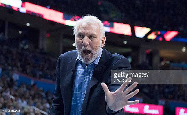 Coach Gregg Popovich yells instructions to his players during the first quarter of a NBA game at the Chesapeake Energy Center on October 28 2015 in...