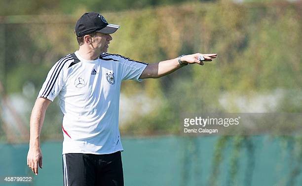 Coach Guido Streichsbier gestures during a training session of the U18 team of Germany on November 11 2014 in Belek Turkey
