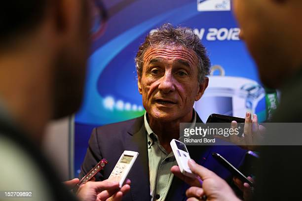 Coach Guy Noves of Stade Toulousain speaks to the media after the Heineken Cup Launch press conference at France Television HQ on September 24 2012...