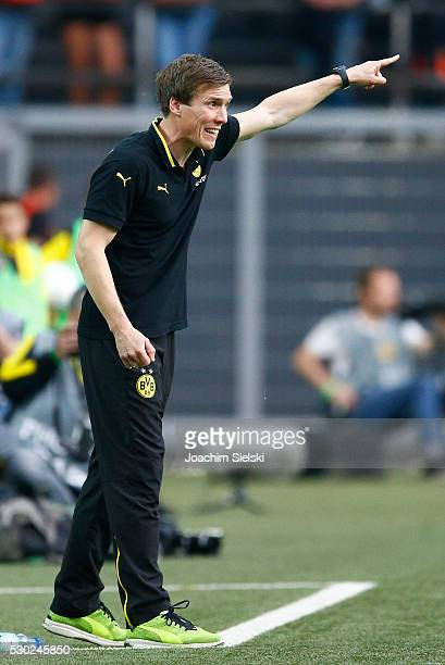 Coach Hannes Wolf of Dortmund during the German U19 Championship Semi Final First Leg match between Borussia Dortmund and 1860 Muenchen at Signal...