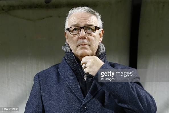 coach Hans de Koning of Go Ahead Eaglesduring the Dutch Eredivisie match between NEC Nijmegen and Go Ahead Eagles at the Goffert stadium on February...