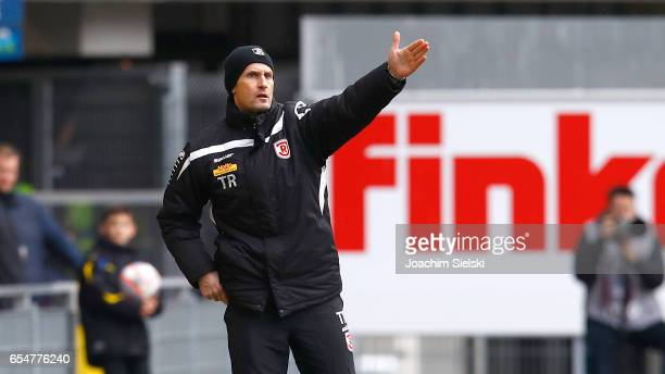 Coach Heiko Herrlich of Regensburg during the third league match between SC Paderborn and Jahn Regensburg at Benteler Arena on March 18 2017 in...