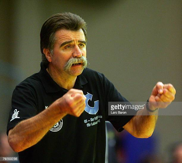 Coach Heiner Brand of Germany celebrates during the Men's Handball European Championship main round Group II match between Germany and Sweden at...