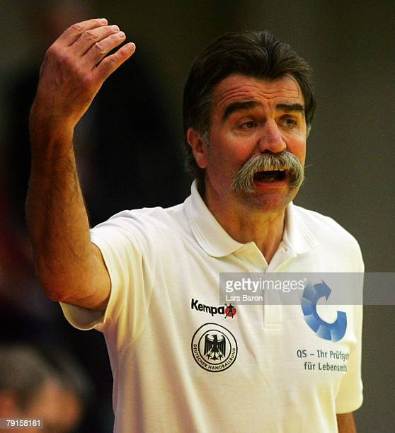 Coach Heiner Brand of Germany reacts during the Men's Handball European Championship main round Group II match between Germany and Iceland at...