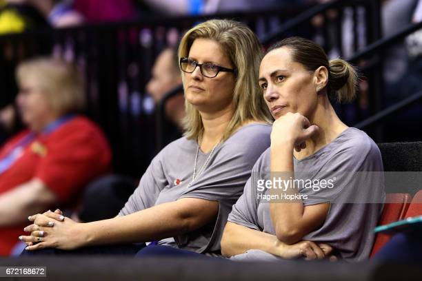 Coach Helene Wilson and Assistant Coach JennyMay Clarkson of the Mystics look on during the New Zealand Premiership match between the Pulse and the...