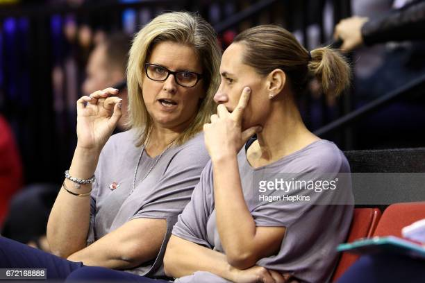 Coach Helene Wilson and Assistant Coach JennyMay Clarkson of the Mystics talk during the New Zealand Premiership match between the Pulse and the...