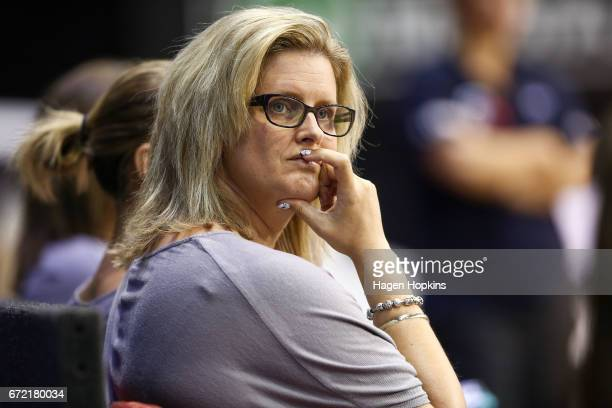 Coach Helene Wilson of the Mystics looks on during the New Zealand Premiership match between the Pulse and the Mystics TSB Bank Arena on April 24...