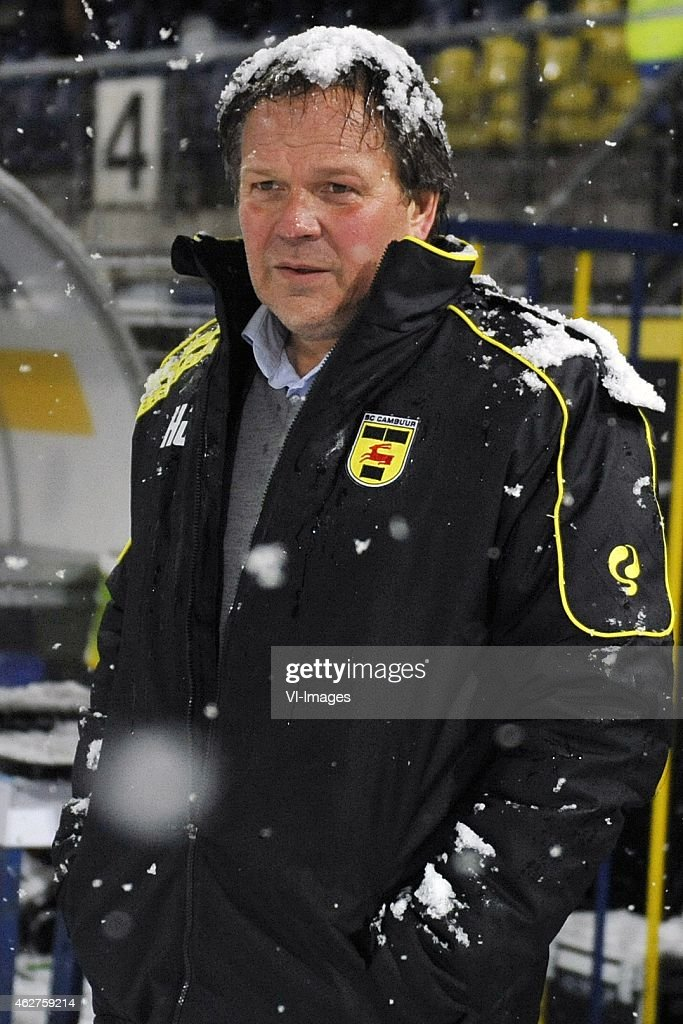 coach Henk de Jong during the Dutch Eredivisie match between SC Cambuur Leeuwarden and Vitesse Arnhem at the Cambuur Stadium on February 4 2015 in...