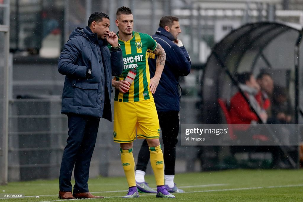 coach Henk Fraser of ADO Den Haag, Vito Wormgoor of ADO Den Haag during the Dutch Eredivisie match between Excelsior Rotterdam and ADO Den Haag at Woudenstein stadium on February 14, 2016 in Rotterdam, The Netherlands