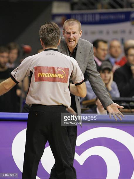 Coach Henrik Roedl of Alba discussed with the referee during game one of the Basketball Playoffs Final match between Alba Berlin and Rhein Energie...