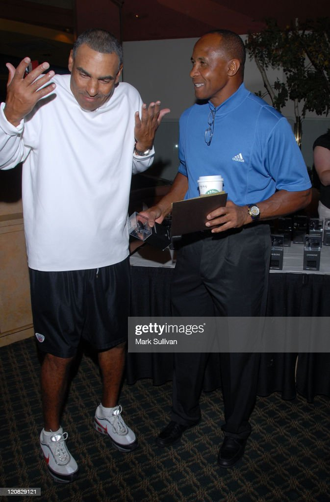NFL coach Herman Edwards and former NFL player Lynn Swann attend Backstage Creations at 2008 American Century Championship July 9 2008 at Harrahs...