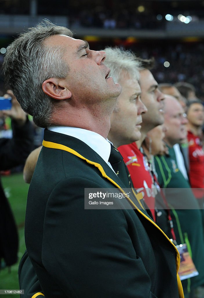 Coach <a gi-track='captionPersonalityLinkClicked' href=/galleries/search?phrase=Heyneke+Meyer&family=editorial&specificpeople=630057 ng-click='$event.stopPropagation()'>Heyneke Meyer</a> singing the anthem during the Castle Larger Incoming Tour match between South Africa and Scotland at Mbombela Stadium on June 15, 2013 in Nelspruit, South Africa.