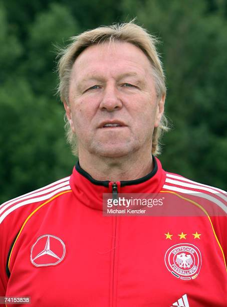 Coach Horst Hrubesch of the U18 German National Team poses during a photo call at LangensteinStadion on May 15 2007 in WaldshutTiengen Germany