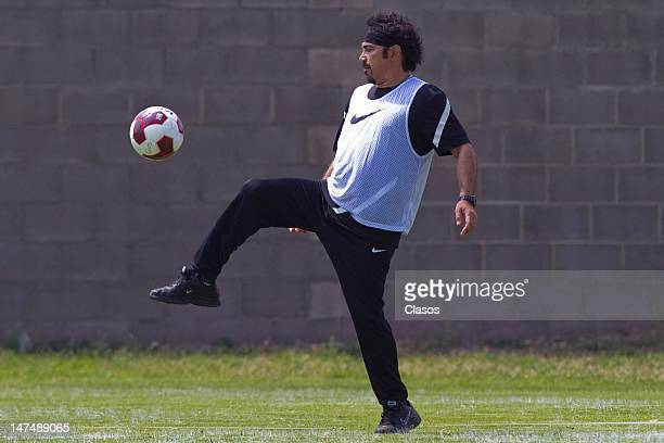 Coach Hugo Sanchez of Pachuca in action during the training Pachuca soccer team for the Cup Banorte in the club house Leon on 29 June 2012 in Leon...