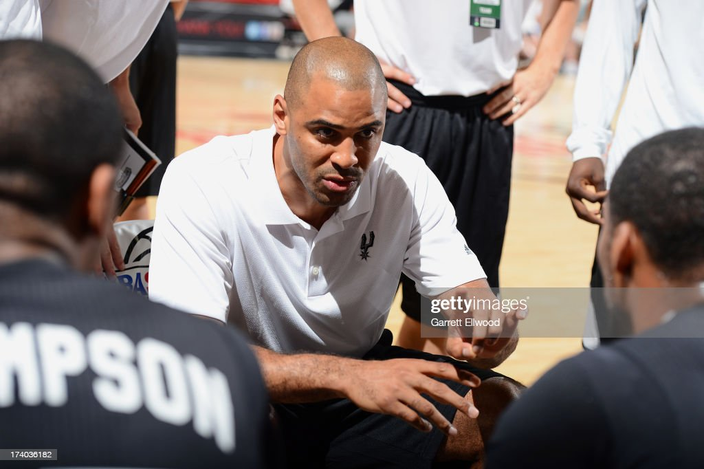 Coach Ime Udoka of the San Antonio Spurs gives direction versus the Milwaukee Bucks during NBA Summer League on July 19, 2013 at the Cox Pavilion in Las Vegas, Nevada.