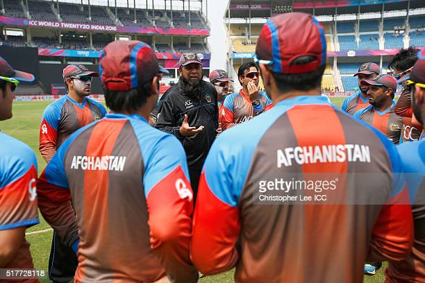 Coach InzamamulHaq of Afghanistan talks to his players before the match during the ICC World Twenty20 India 2016 Group 1 match between Afghanistan...